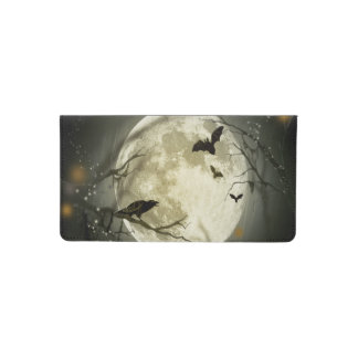 Bats fly Crow sits in Front of Halloween Full Moon Checkbook Cover