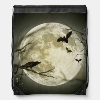 Bats fly Crow sits in Front of Halloween Full Moon Drawstring Bag