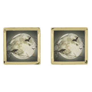 Bats fly Crow sits in Front of Halloween Full Moon Gold Cufflinks