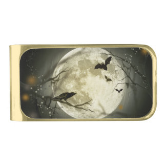 Bats fly Crow sits in Front of Halloween Full Moon Gold Finish Money Clip