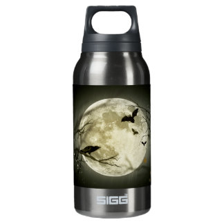 Bats fly Crow sits in Front of Halloween Full Moon Insulated Water Bottle