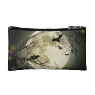 Bats fly Crow sits in Front of Halloween Full Moon Makeup Bag