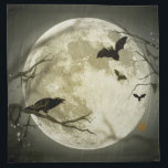 "Bats fly Crow sits in Front of Halloween Full Moon Napkin<br><div class=""desc"">A nice Halloween scene with a crow calling and three bats fly in front of a full moon during a clear but rainy day. A few empty branches,  a few glowing lights and a cob web also appear in this scene.</div>"