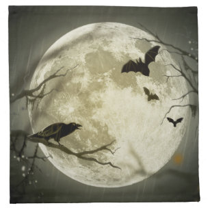 Bats fly Crow sits in Front of Halloween Full Moon Napkin