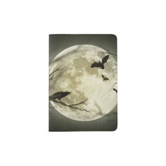 Bats fly Crow sits in Front of Halloween Full Moon Passport Holder