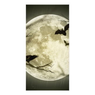 Bats fly Crow sits in Front of Halloween Full Moon Customized Photo Card