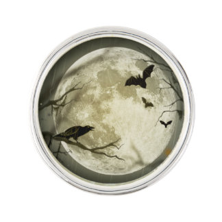 Bats fly Crow sits in Front of Halloween Full Moon Pin