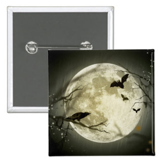 Bats fly Crow sits in Front of Halloween Full Moon Pinback Button