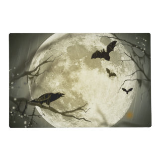 Bats fly Crow sits in Front of Halloween Full Moon Placemat