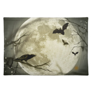 Bats fly Crow sits in Front of Halloween Full Moon Placemats
