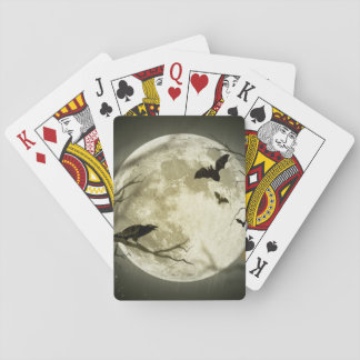 Bats fly Crow sits in Front of Halloween Full Moon Playing Cards
