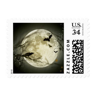 Bats fly Crow sits in Front of Halloween Full Moon Postage