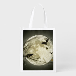 Bats fly Crow sits in Front of Halloween Full Moon Reusable Grocery Bag