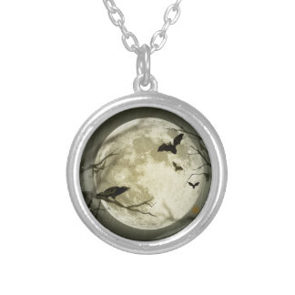 Bats fly Crow sits in Front of Halloween Full Moon Round Pendant Necklace