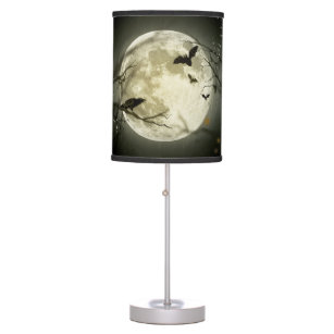 Bats fly Crow sits in Front of Halloween Full Moon Table Lamp