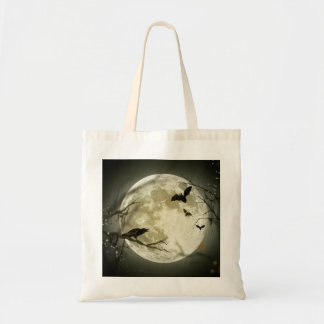 Bats fly Crow sits in Front of Halloween Full Moon Tote Bag