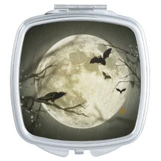 Bats fly Crow sits in Front of Halloween Full Moon Vanity Mirror