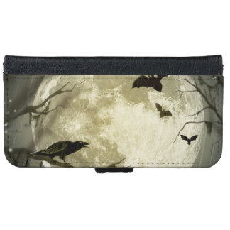 Bats fly Crow sits in Front of Halloween Full Moon Wallet Phone Case For iPhone 6/6s