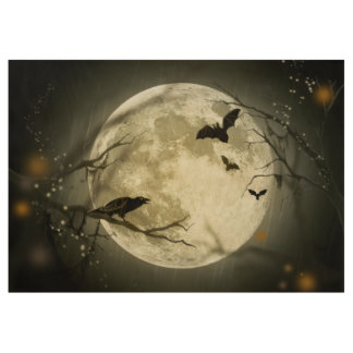 Bats fly Crow sits in Front of Halloween Full Moon Wood Poster