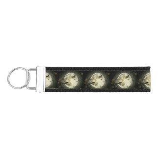 Bats fly Crow sits in Front of Halloween Full Moon Wrist Keychain
