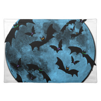 Bats Flying against Moon Halloween blue black Place Mats