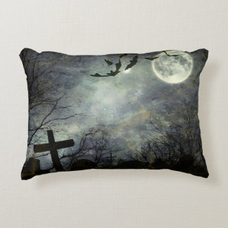 Bats flying in the night accent pillow