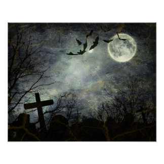 Bats flying in the night poster