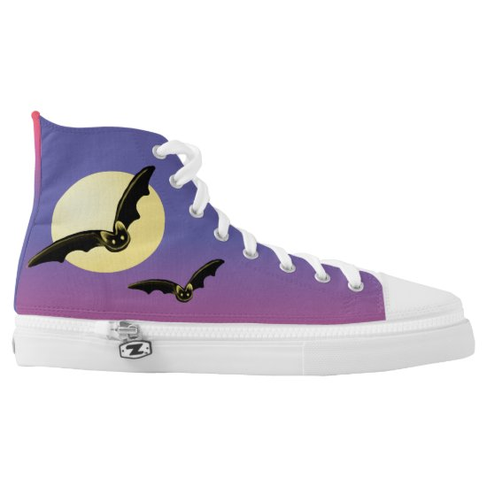 Bats Flying Over the Full Moon High Top Shoes