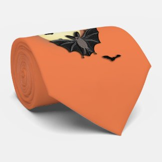 Bats Flying with the Moon Tie