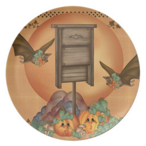 Bats for Pumpkin Dinner Plate