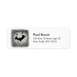 Bats Halloween Label Square Grey