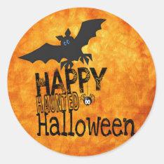 bats happy halloween classic round sticker at Zazzle