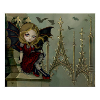 Bats in the Belfry gothic fairy Art Print