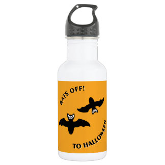 Bats Off To Halloween Orange Square Stainless Steel Water Bottle