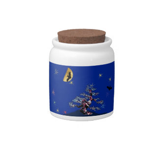 Bats Over th Witch Tree Candy Jars