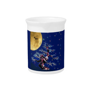 Bats Over th Witch Tree Drink Pitcher