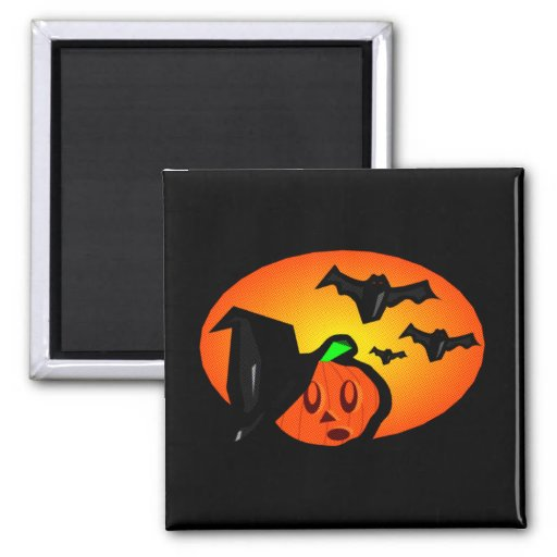 Bats & Pumpkin Jack Orange Halftone Logo Refrigerator Magnets