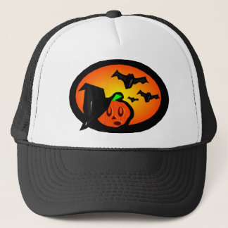 Bats & Pumpkin Jack Orange Halftone Logo Trucker Hat