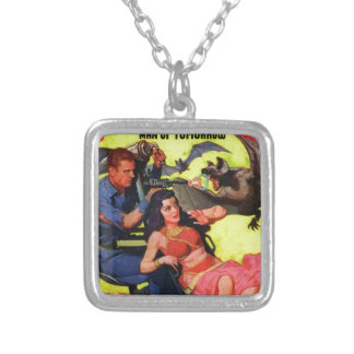 Bats Scare Spacefarers Silver Plated Necklace