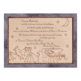Bats Tea Party Halloween Costume Party 6.5x8.75 Paper Invitation Card