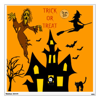 Bats Witches Goblins Halloween Night Haunted House Wall Decal