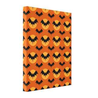 Bats with Moon Canvas Print