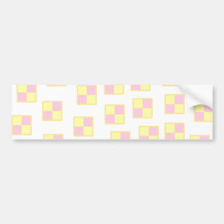 Battenburg Cake Pattern. Pink and Yellow. Bumper Sticker