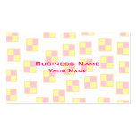 Battenburg Cake Pattern. Pink and Yellow. Business Card Templates