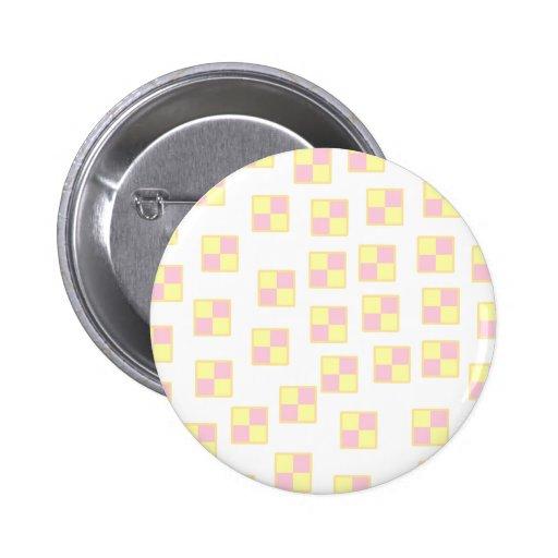Battenburg Cake Pattern. Pink and Yellow. Pinback Button