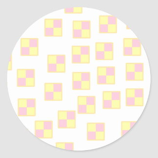 Battenburg Cake Pattern. Pink and Yellow. Classic Round Sticker
