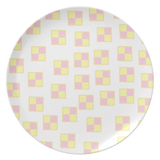 Battenburg Cake Pattern. Pink and Yellow. Dinner Plate