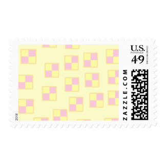 Battenburg Cake Pattern. Pink and Yellow. Postage Stamp