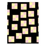 Battenburg Cake Pattern. Pink and Yellow. Postcard