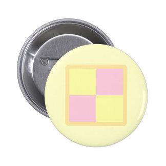 Battenburg Cake. Pink and Yellow. Pinback Button